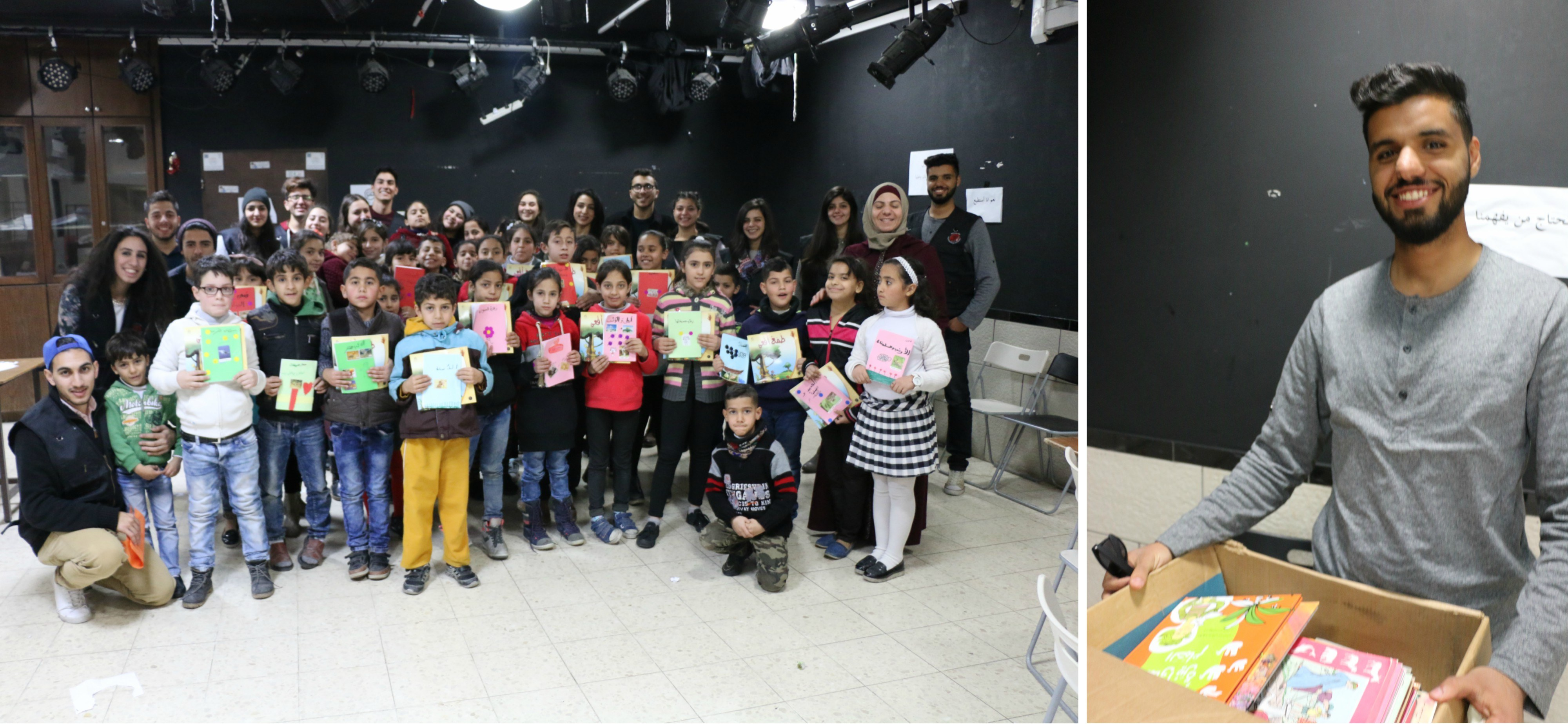 A Group Photo Of The Alumni And The Kids From Aida Refugee Camp In Bethlehem And Their Teacher  Right Yes Alumnus Ahmad Ladadweh 2012 2013 With Some Of The Donated Books That He