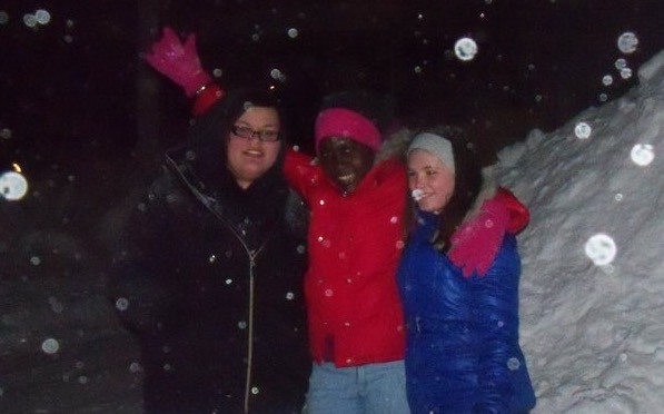 Playing In The Snow With My Host Sisters