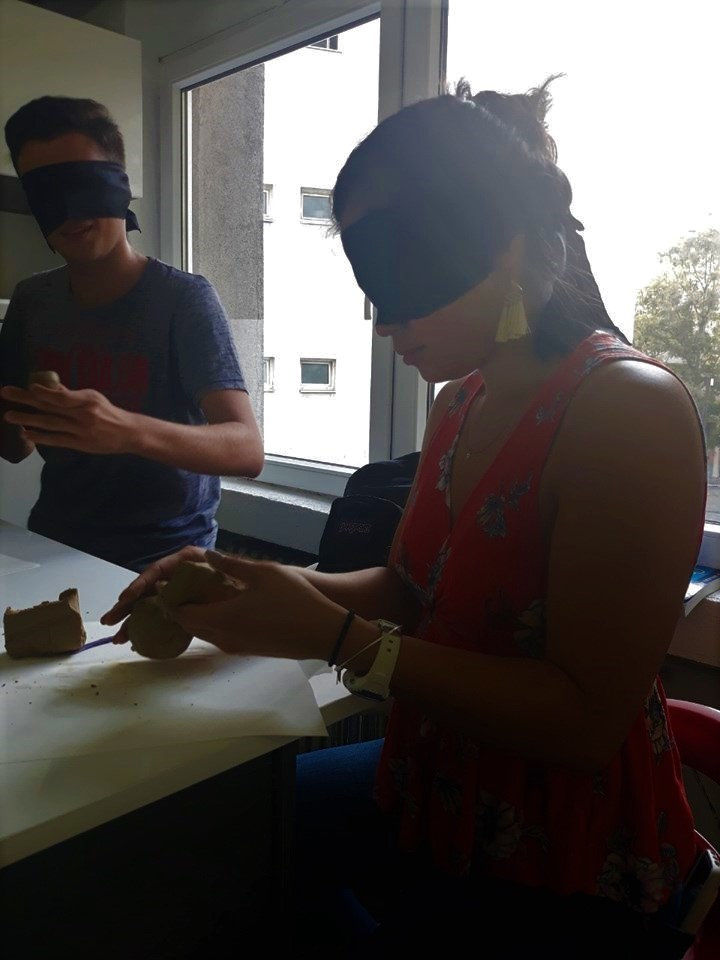 Yes Website Story N  Macedonia Marijas The Art Of The Hand Workshop Yes Abroad And Yes Alumni Blindfolded Making Sculptures
