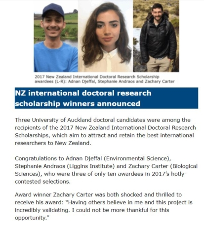 New Zealand International Doctoral Scholarship Winners Announcement