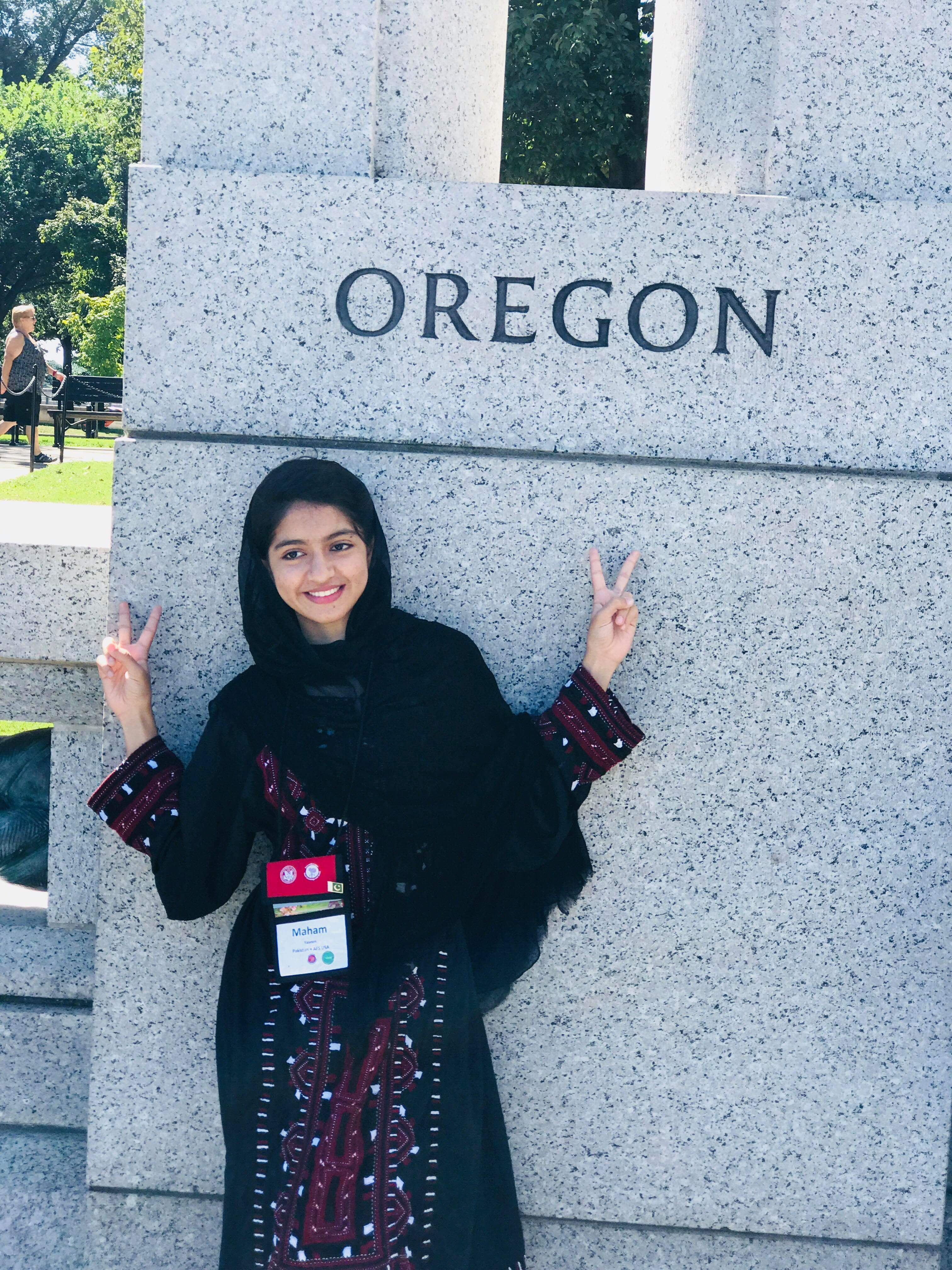 Maham points to Oregon at the WWII memorial.